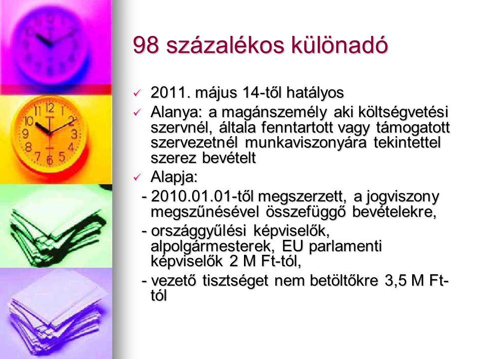 98 százalékos különadó 2011. május 14-től hatályos 2011.