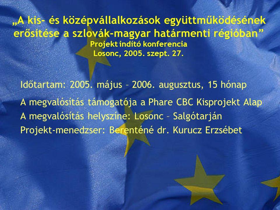 """""""A kis- és középvállalkozások együttműködésének erősítése a szlovák-magyar határmenti régióban Projekt indító konferencia Losonc, 2005."""