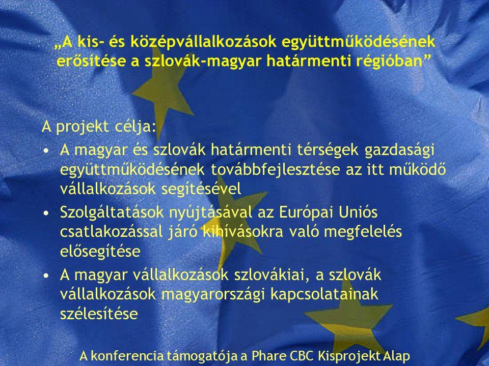 """""""A kis- és középvállalkozások együttműködésének erősítése a szlovák-magyar határmenti régióban A projekt célja: A magyar és szlovák határmenti térségek gazdasági együttműködésének továbbfejlesztése az itt működő vállalkozások segítésével Szolgáltatások nyújtásával az Európai Uniós csatlakozással járó kihívásokra való megfelelés elősegítése A magyar vállalkozások szlovákiai, a szlovák vállalkozások magyarországi kapcsolatainak szélesítése A konferencia támogatója a Phare CBC Kisprojekt Alap"""