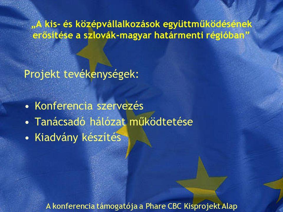 """""""A kis- és középvállalkozások együttműködésének erősítése a szlovák-magyar határmenti régióban Projekt tevékenységek: Konferencia szervezés Tanácsadó hálózat működtetése Kiadvány készítés A konferencia támogatója a Phare CBC Kisprojekt Alap"""
