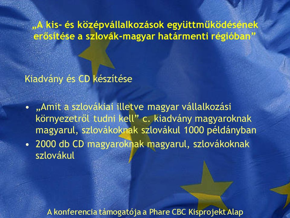 """""""A kis- és középvállalkozások együttműködésének erősítése a szlovák-magyar határmenti régióban Kiadvány és CD készítése """"Amit a szlovákiai illetve magyar vállalkozási környezetről tudni kell c."""