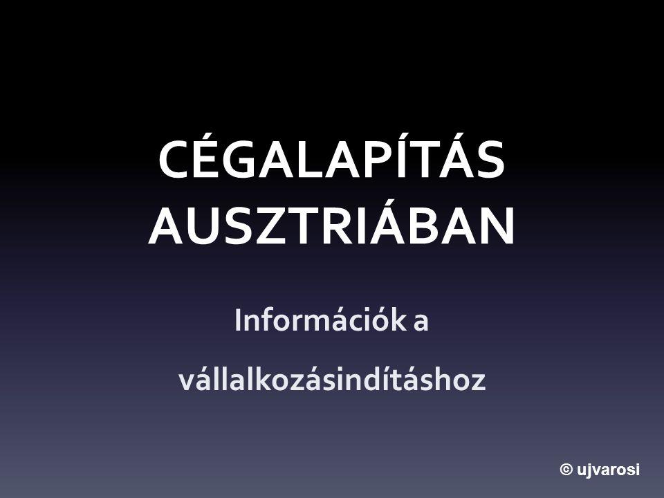 CÉGALAPÍTÁS AUSZTRIÁBAN Információk a vállalkozásindításhoz © ujvarosi