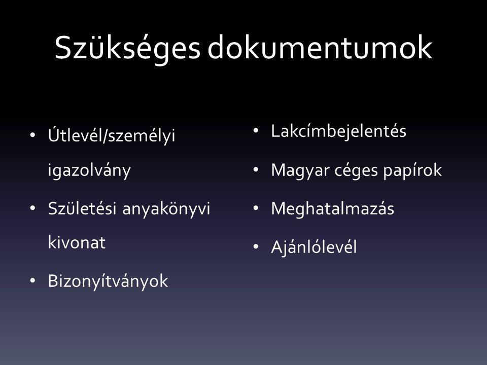 Szükséges dokumentumok Útlevél/személyi igazolvány Születési anyakönyvi kivonat Bizonyítványok Lakcímbejelentés Magyar céges papírok Meghatalmazás Ajánlólevél