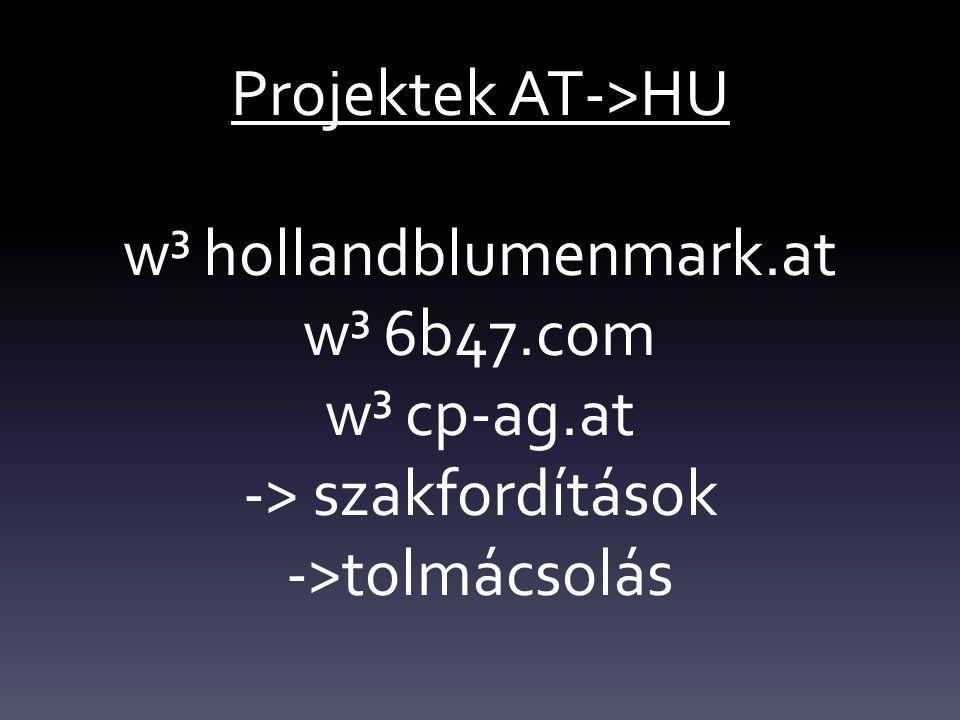 Projektek AT->HU w³ hollandblumenmark.at w³ 6b47.com w³ cp-ag.at -> szakfordítások ->tolmácsolás