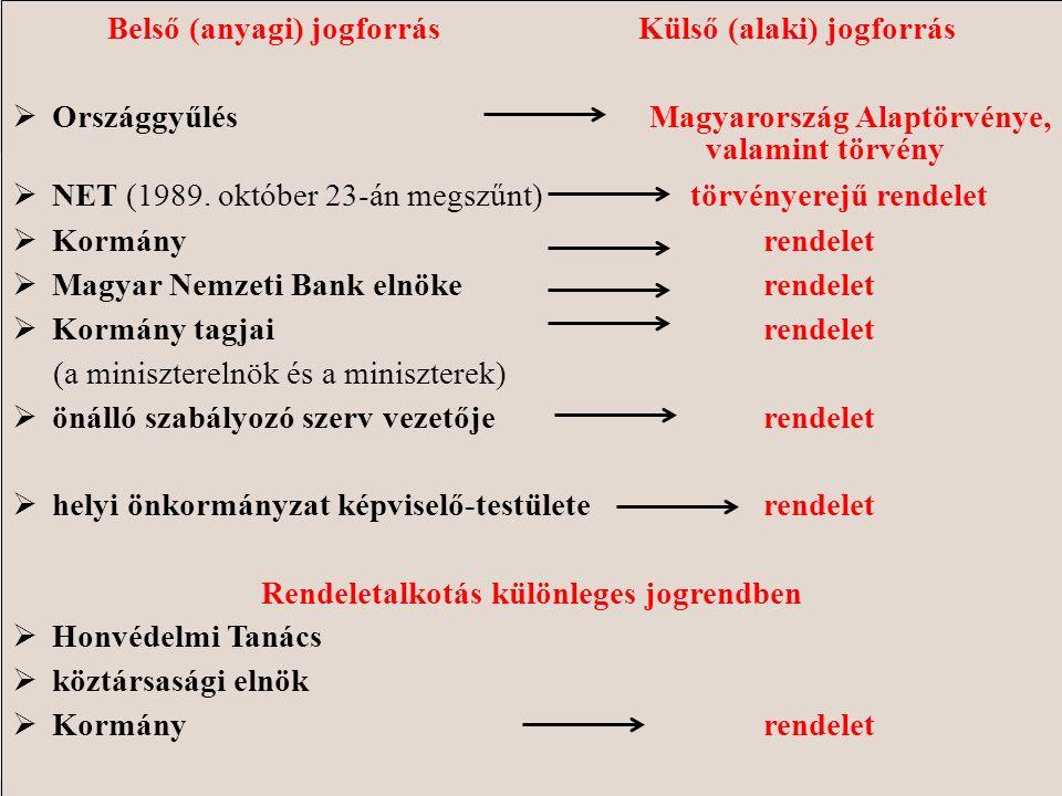 Belső (anyagi) jogforrás Külső (alaki) jogforrás  OrszággyűlésMagyarország Alaptörvénye, valamint törvény  NET (1989. október 23-án megszűnt) törvén
