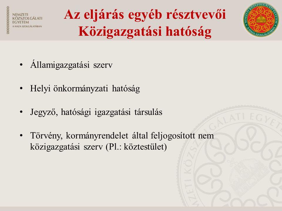 Államigazgatási szerv Helyi önkormányzati hatóság Jegyző, hatósági igazgatási társulás Törvény, kormányrendelet által feljogosított nem közigazgatási