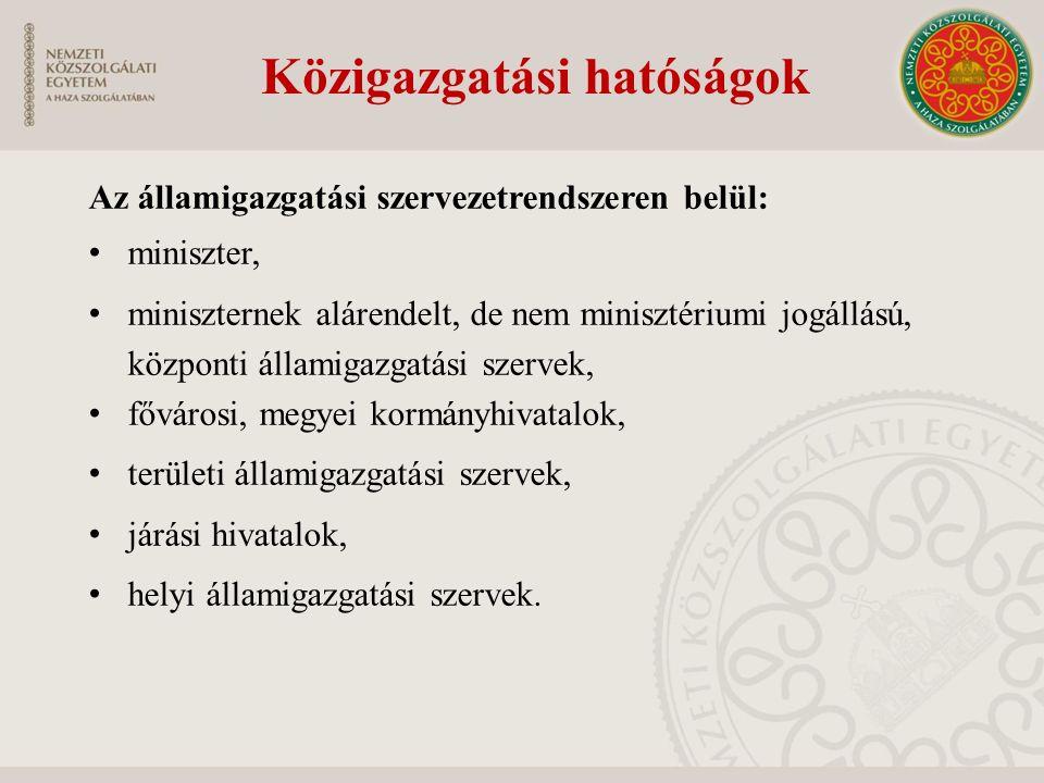 Az államigazgatási szervezetrendszeren belül: miniszter, miniszternek alárendelt, de nem minisztériumi jogállású, központi államigazgatási szervek, fő