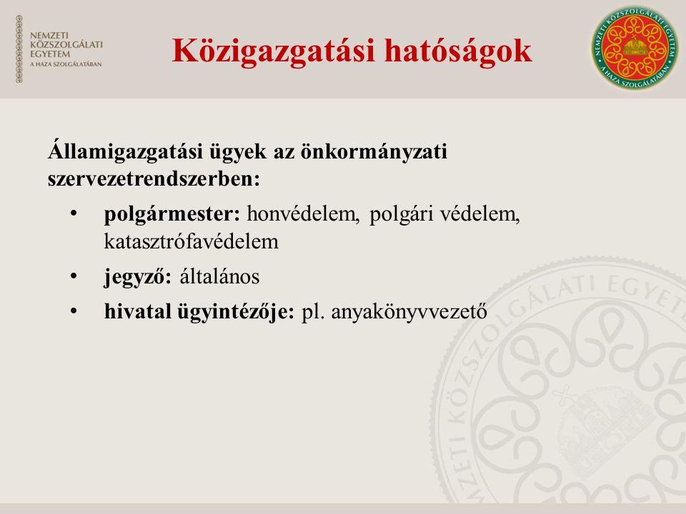 Államigazgatási ügyek az önkormányzati szervezetrendszerben: polgármester: honvédelem, polgári védelem, katasztrófavédelem jegyző: általános hivatal ügyintézője: pl.