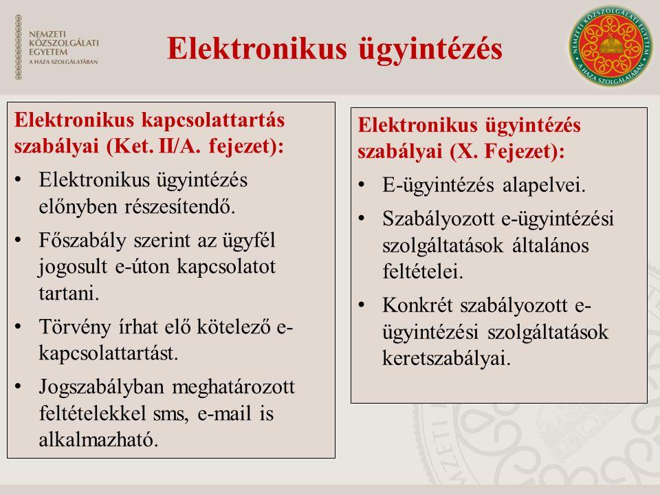 Elektronikus kapcsolattartás szabályai (Ket. II/A. fejezet): Elektronikus ügyintézés előnyben részesítendő. Főszabály szerint az ügyfél jogosult e-úto