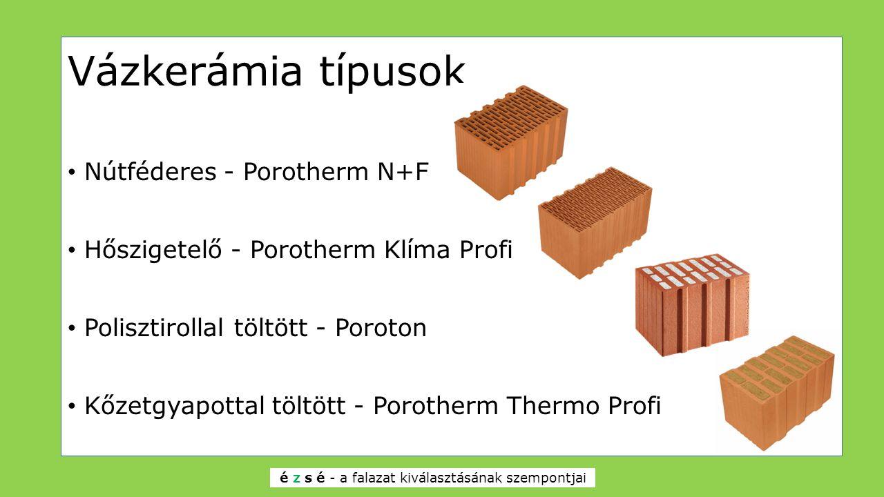 Vázkerámia típusok Nútféderes - Porotherm N+F Hőszigetelő - Porotherm Klíma Profi Polisztirollal töltött - Poroton Kőzetgyapottal töltött - Porotherm Thermo Profi é z s é - a falazat kiválasztásának szempontjai