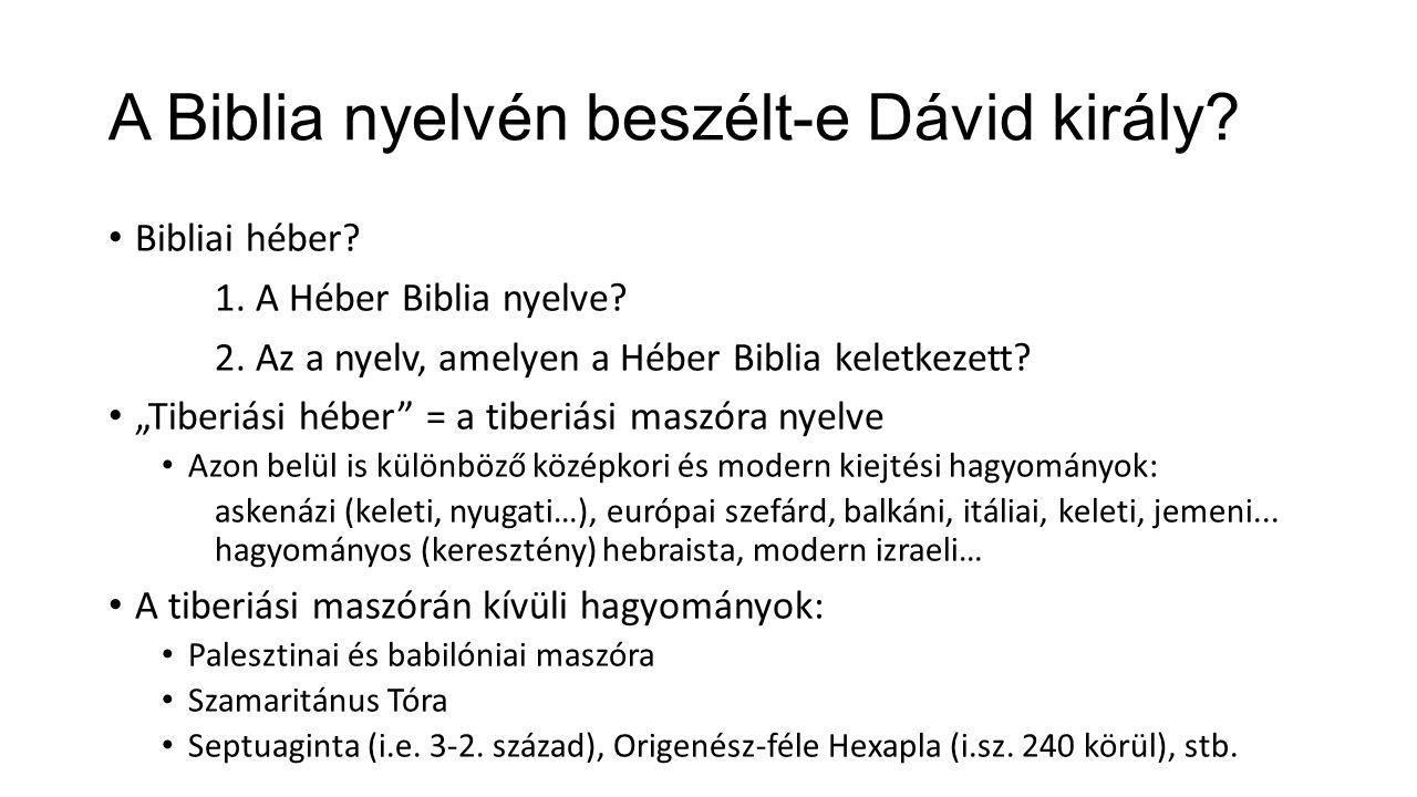 Bibliai héber. 1. A Héber Biblia nyelve. 2. Az a nyelv, amelyen a Héber Biblia keletkezett.