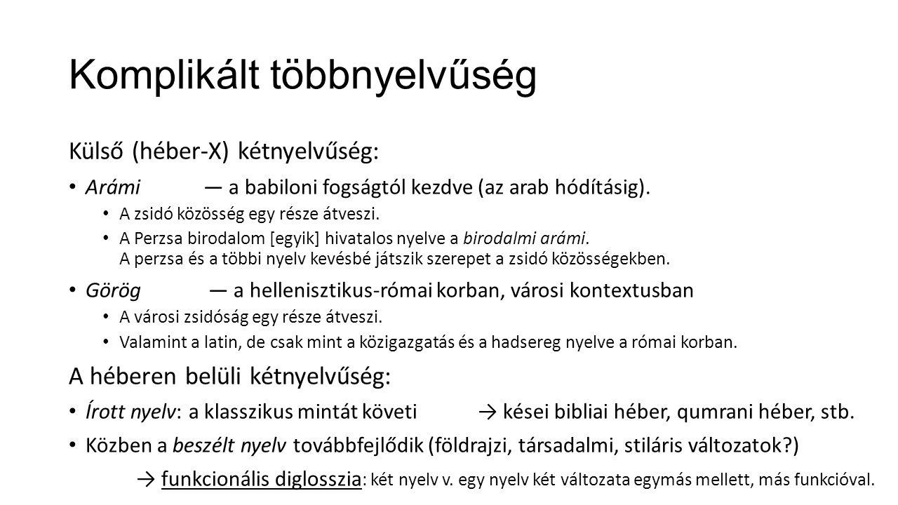 Komplikált többnyelvűség Külső (héber-X) kétnyelvűség: Arámi― a babiloni fogságtól kezdve (az arab hódításig).