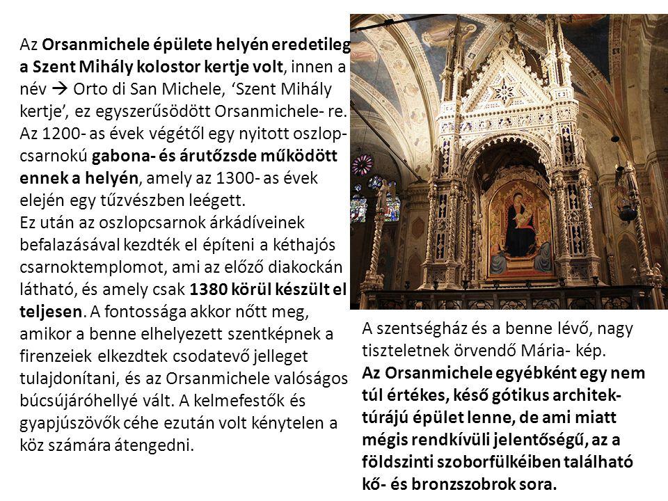 Az Orsanmichele épülete helyén eredetileg a Szent Mihály kolostor kertje volt, innen a név  Orto di San Michele, 'Szent Mihály kertje', ez egyszerűsödött Orsanmichele- re.