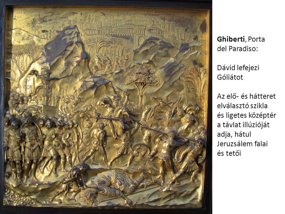 Ghiberti, Porta del Paradiso: Dávid lefejezi Góliátot Az elő- és hátteret elválasztó szikla és ligetes középtér a távlat illúzióját adja, hátul Jeruzs
