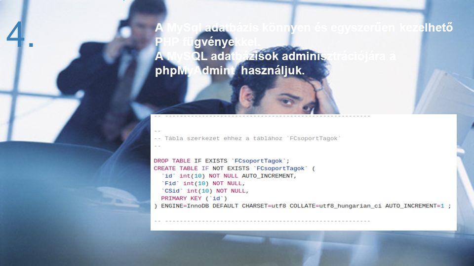 A MySql adatbázis könnyen és egyszerűen kezelhető PHP fügvényekkel. A MySQL adatbázisok adminisztrációjára a phpMyAdmint használjuk. 14.