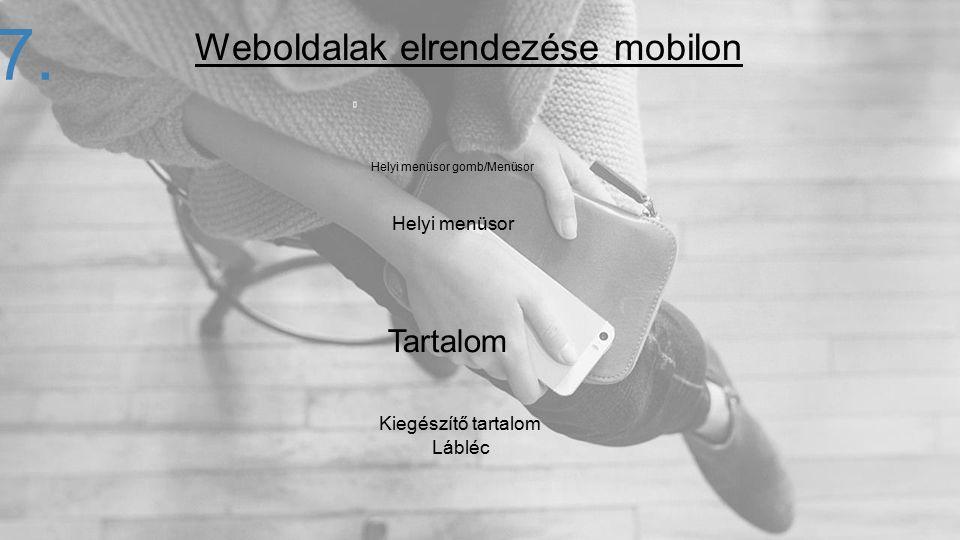 27. Helyi menüsor gomb/Menüsor Helyi menüsor Tartalom Kiegészítő tartalom Lábléc Weboldalak elrendezése mobilon