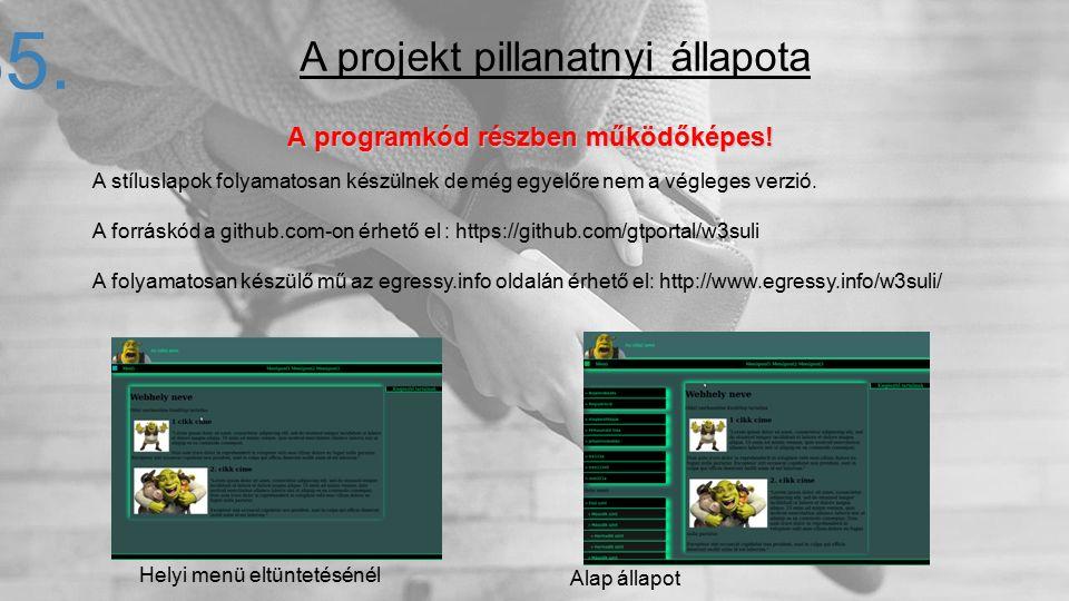 A programkód részben működőképes! 35. A stíluslapok folyamatosan készülnek de még egyelőre nem a végleges verzió. A forráskód a github.com-on érhető e
