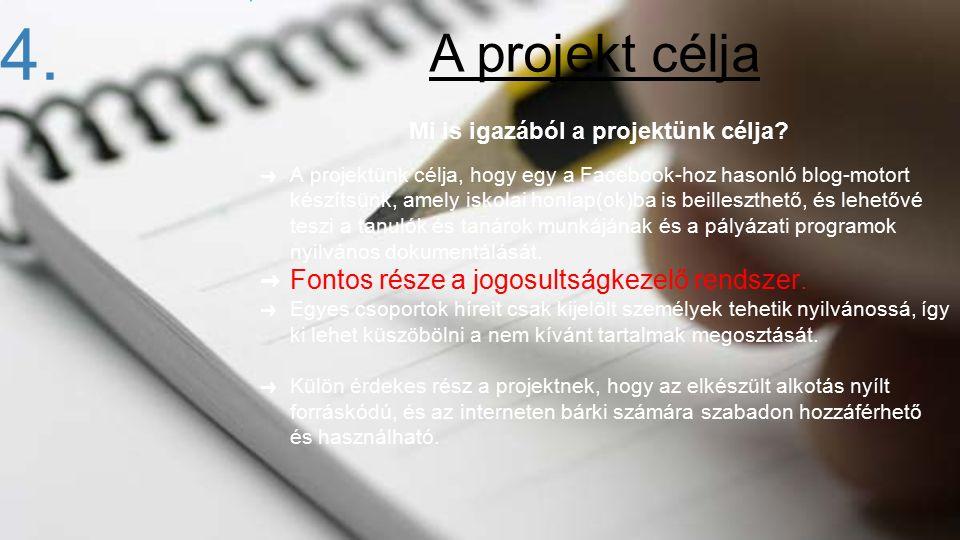 Mi is igazából a projektünk célja? ➜ A projektünk célja, hogy egy a Facebook-hoz hasonló blog-motort készítsünk, amely iskolai honlap(ok)ba is beilles