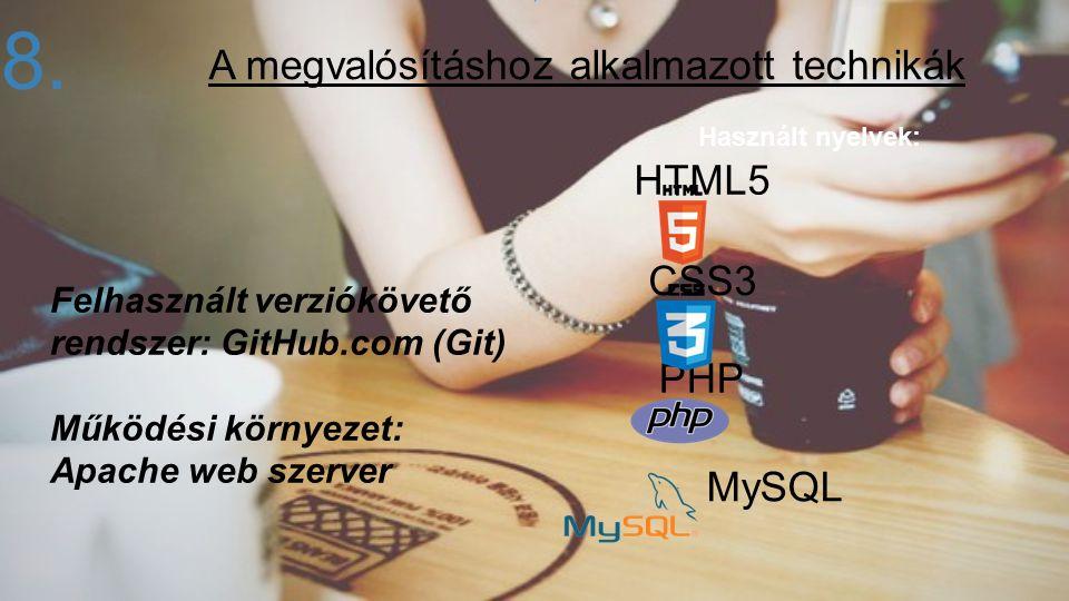Használt nyelvek: Felhasznált verziókövető rendszer: GitHub.com (Git) Működési környezet: Apache web szerver 8. HTML5 CSS3 PHP MySQL A megvalósításhoz
