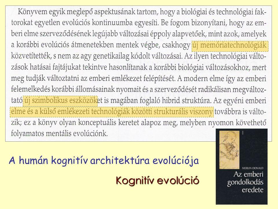 A humán kognitív architektúra evolúciója Kognitív evolúció
