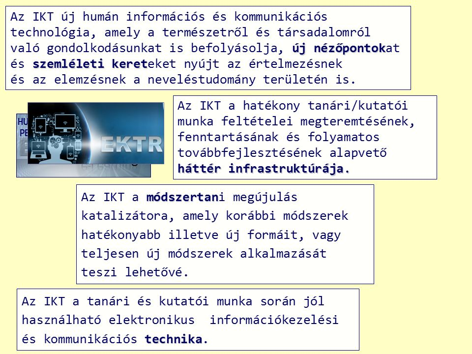 technika Az IKT a tanári és kutatói munka során jól használható elektronikus információkezelési és kommunikációs technika. módszertan Az IKT a módszer