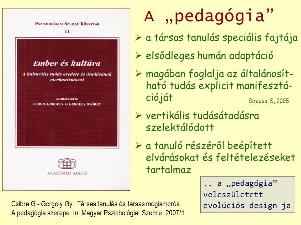 """A """"pedagógia""""  a társas tanulás speciális fajtája  elsődleges humán adaptáció  magában foglalja az általánosít- ható tudás explicit manifesztá- ció"""