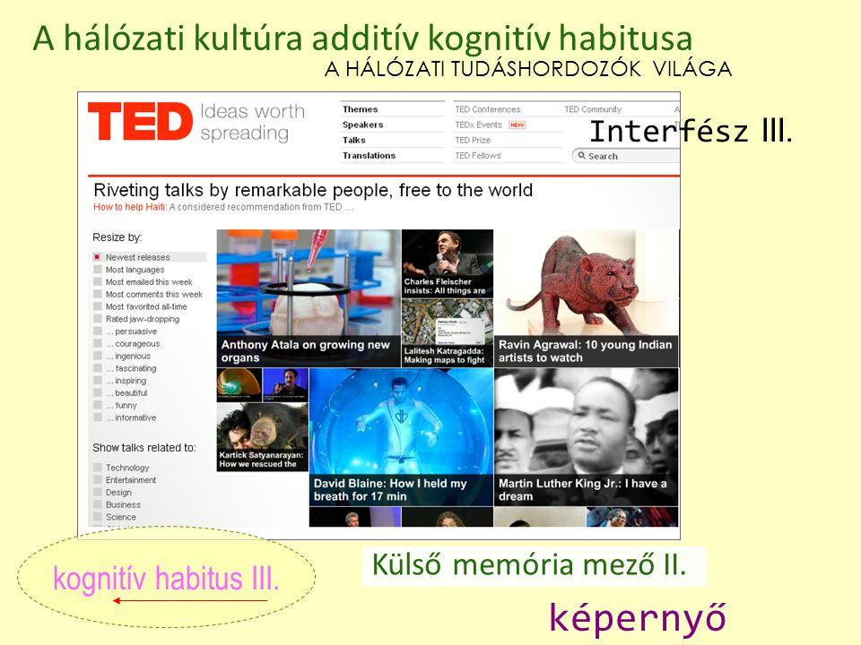 Külső memória mező II. kognitív habitus III. A hálózati kultúra additív kognitív habitusa képernyő A HÁLÓZATI TUDÁSHORDOZÓK VILÁGA Interfész III.