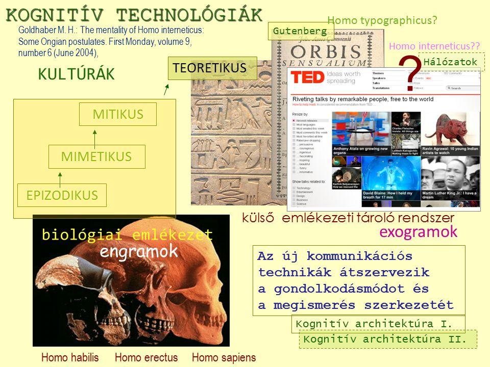 Homo erectusHomo sapiensHomo habilis biológiai emlékezet KOGNITÍV TECHNOLÓGIÁK Gutenberg EPIZODIKUS MIMETIKUS MITIKUS Homo typographicus.