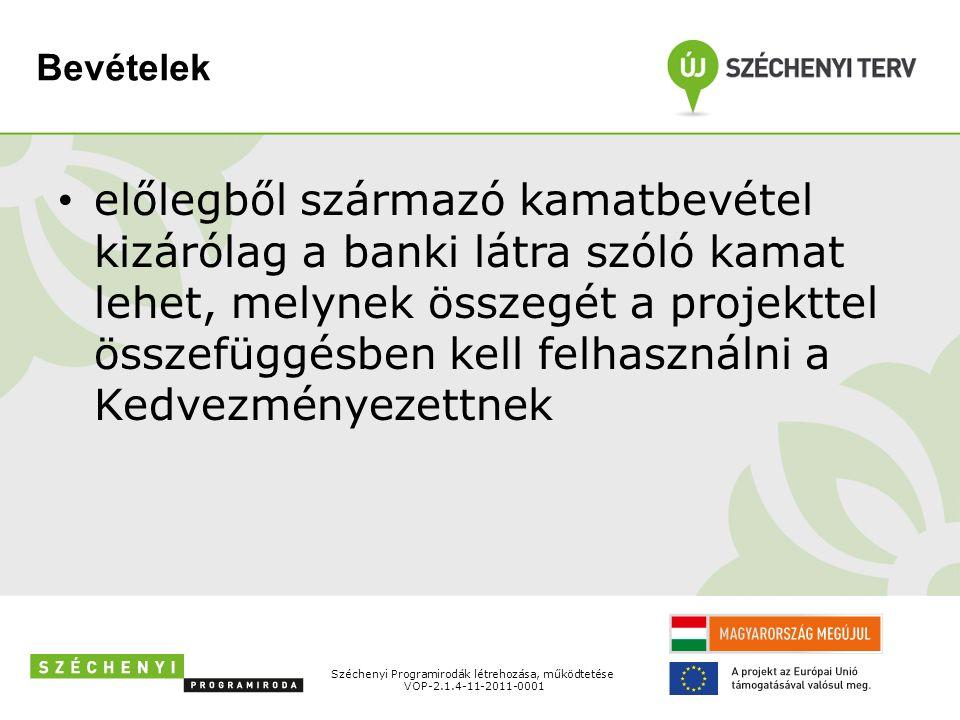 Bevételek előlegből származó kamatbevétel kizárólag a banki látra szóló kamat lehet, melynek összegét a projekttel összefüggésben kell felhasználni a Kedvezményezettnek Széchenyi Programirodák létrehozása, működtetése VOP-2.1.4-11-2011-0001