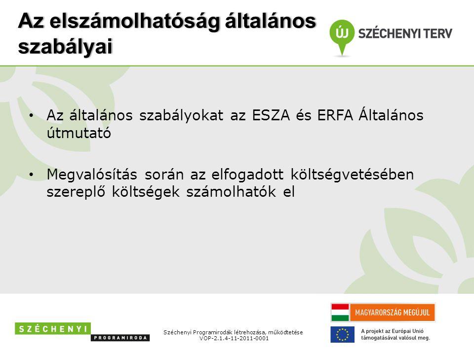 Finanszírozási típusok és finanszírozási módok Támogatási Szerződés (TSZ) hatályba lépése után Forintban Típusai: – előleg, – időközi kifizetési igénylés, – záró kifizetési igénylés Széchenyi Programirodák létrehozása, működtetése VOP-2.1.4-11-2011-0001