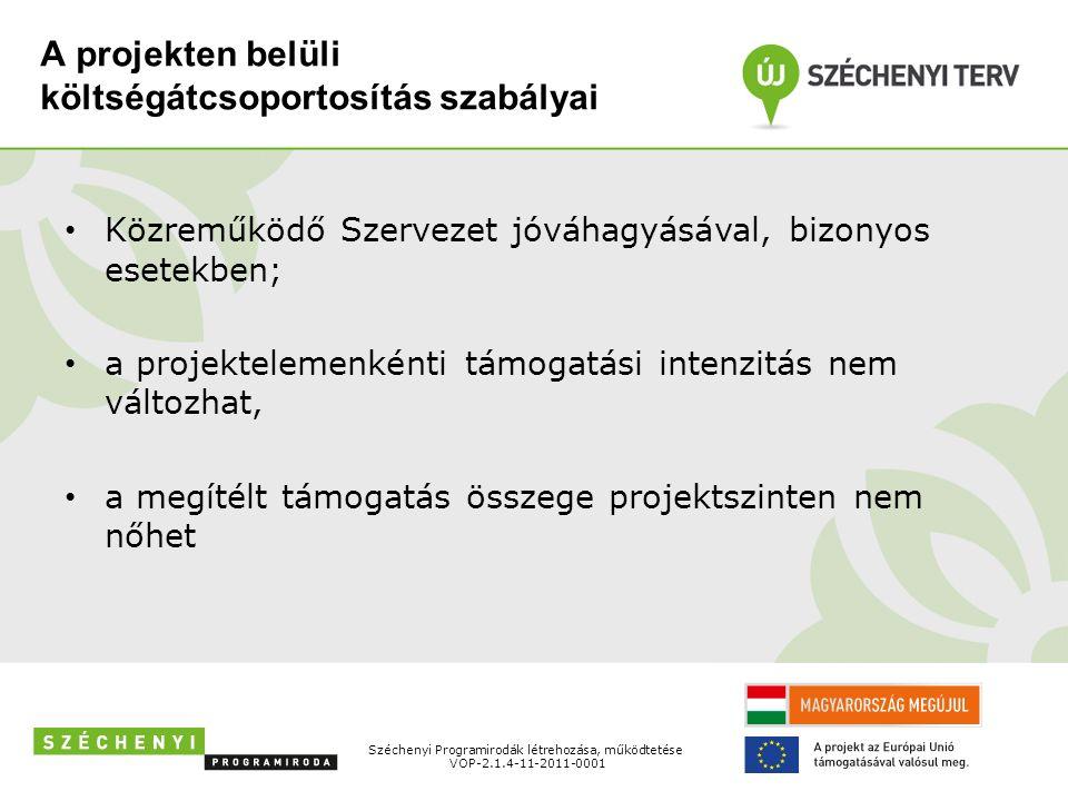 A projekten belüli költségátcsoportosítás szabályai Közreműködő Szervezet jóváhagyásával, bizonyos esetekben; a projektelemenkénti támogatási intenzitás nem változhat, a megítélt támogatás összege projektszinten nem nőhet Széchenyi Programirodák létrehozása, működtetése VOP-2.1.4-11-2011-0001