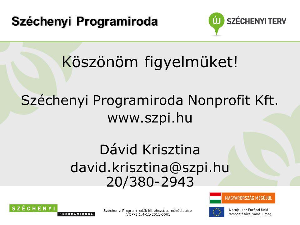 Széchenyi ProgramirodaSzéchenyi Programiroda Köszönöm figyelmüket.
