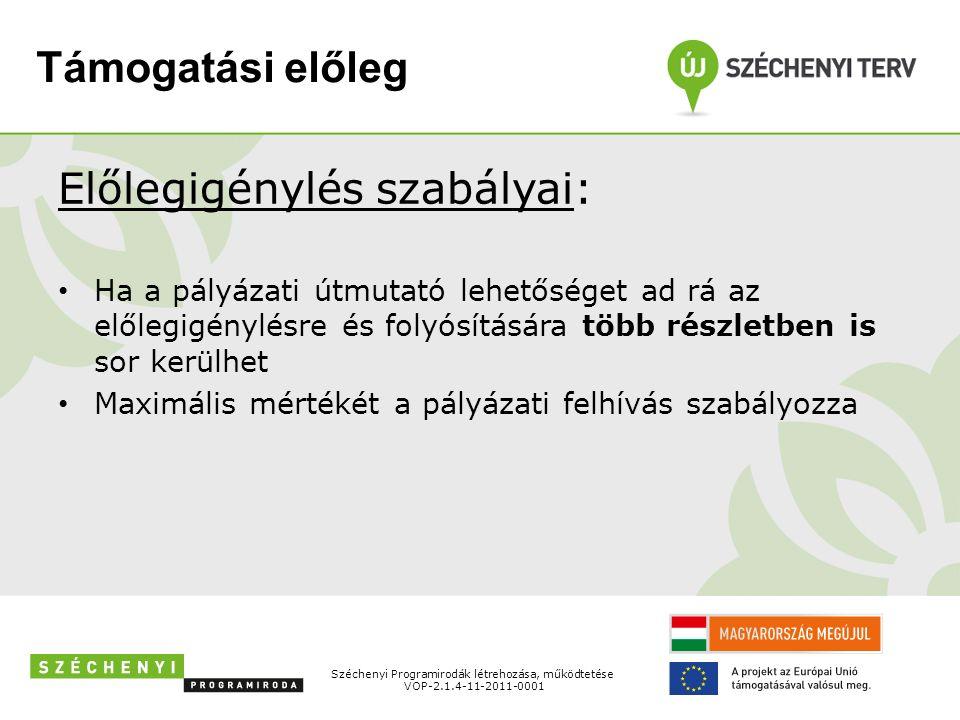 Támogatási előleg Előlegigénylés szabályai: Ha a pályázati útmutató lehetőséget ad rá az előlegigénylésre és folyósítására több részletben is sor kerülhet Maximális mértékét a pályázati felhívás szabályozza Széchenyi Programirodák létrehozása, működtetése VOP-2.1.4-11-2011-0001