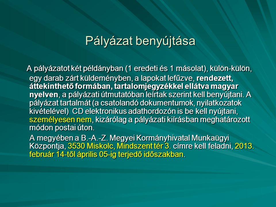 Pályázat benyújtása A pályázatot két példányban (1 eredeti és 1 másolat), külön-külön, egy darab zárt küldeményben, a lapokat lefűzve, rendezett, áttekinthető formában, tartalomjegyzékkel ellátva magyar nyelven, a pályázati útmutatóban leírtak szerint kell benyújtani.