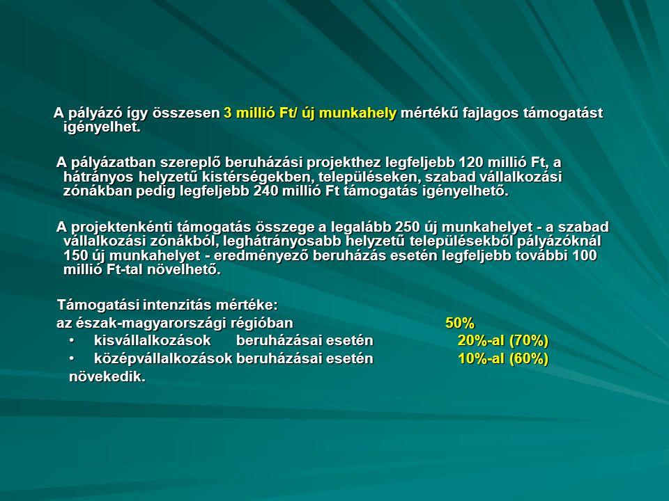 A pályázó így összesen 3 millió Ft/ új munkahely mértékű fajlagos támogatást igényelhet.