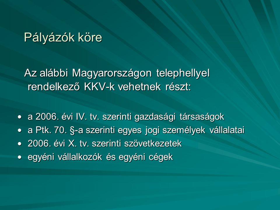 Pályázók köre Az alábbi Magyarországon telephellyel rendelkező KKV-k vehetnek részt: Az alábbi Magyarországon telephellyel rendelkező KKV-k vehetnek részt: a 2006.