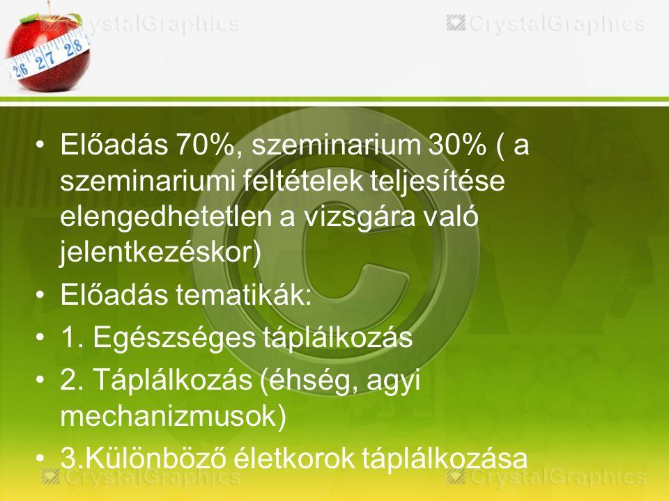 Előadás 70%, szeminarium 30% ( a szeminariumi feltételek teljesítése elengedhetetlen a vizsgára való jelentkezéskor) Előadás tematikák: 1.