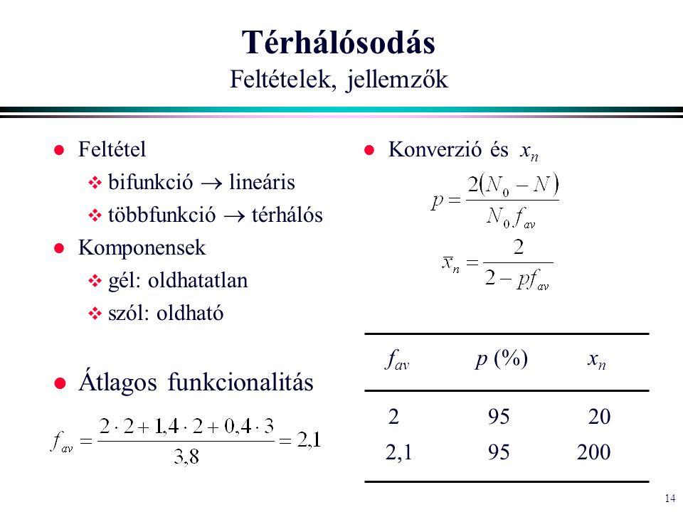 14 Térhálósodás Feltételek, jellemzők l Feltétel  bifunkció  lineáris  többfunkció  térhálós l Komponensek  gél: oldhatatlan  szól: oldható l Átlagos funkcionalitás l Konverzió és x n f av p (%) x n 2 95 20 2,1 95200