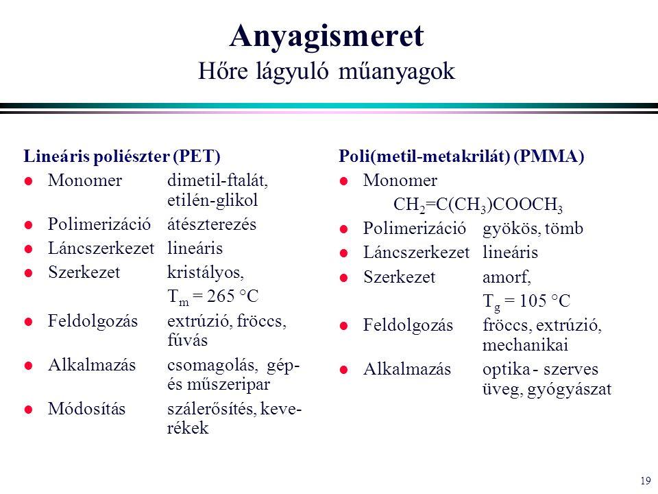 19 Anyagismeret Hőre lágyuló műanyagok Lineáris poliészter (PET) l Monomerdimetil-ftalát, etilén-glikol l Polimerizációátészterezés l Láncszerkezetlineáris l Szerkezetkristályos, T m = 265 °C l Feldolgozásextrúzió, fröccs, fúvás l Alkalmazáscsomagolás, gép- és műszeripar l Módosításszálerősítés, keve- rékek Poli(metil-metakrilát) (PMMA) l Monomer CH 2 =C(CH 3 )COOCH 3 l Polimerizációgyökös, tömb l Láncszerkezetlineáris l Szerkezetamorf, T g = 105 °C l Feldolgozásfröccs, extrúzió, mechanikai l Alkalmazásoptika - szerves üveg, gyógyászat