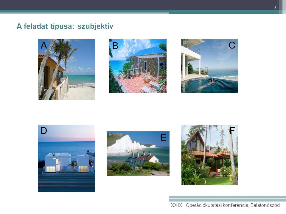 7 A feladat típusa: szubjektív A B C D E F XXIX. Operációkutatási konferencia, Balatonőszöd