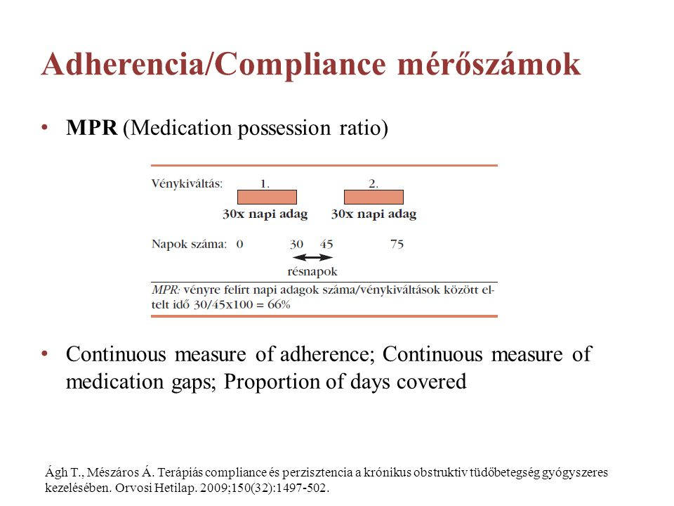 Adherencia/Compliance mérőszámok MPR (Medication possession ratio) Continuous measure of adherence; Continuous measure of medication gaps; Proportion of days covered Ágh T., Mészáros Á.