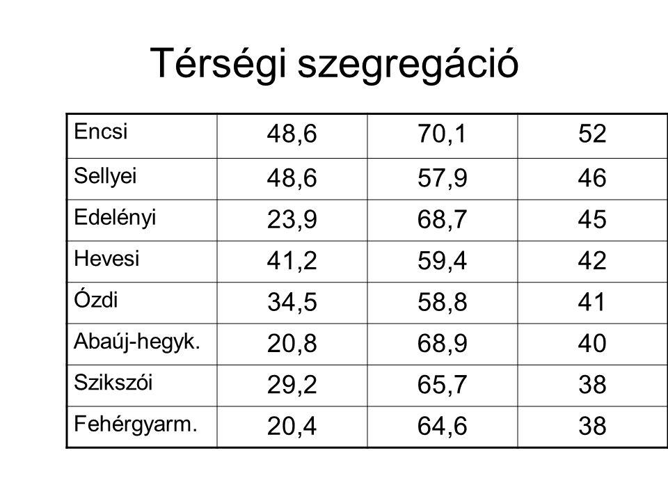Térségi szegregáció Encsi 48,670,152 Sellyei 48,657,946 Edelényi 23,968,745 Hevesi 41,259,442 Ózdi 34,558,841 Abaúj-hegyk. 20,868,940 Szikszói 29,265,
