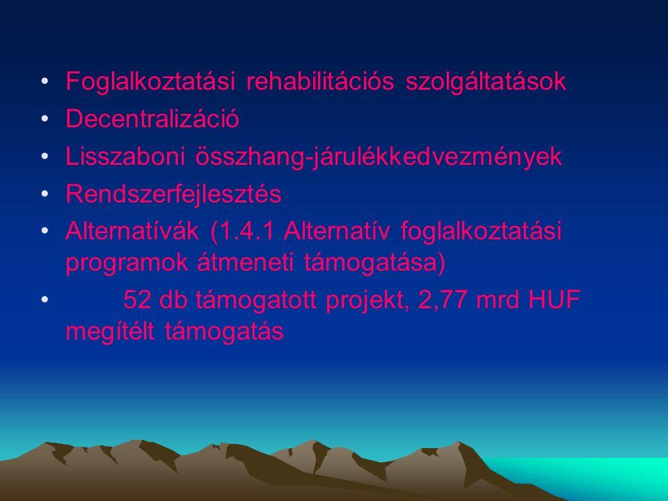 Foglalkoztatási rehabilitációs szolgáltatások Decentralizáció Lisszaboni összhang-járulékkedvezmények Rendszerfejlesztés Alternatívák (1.4.1 Alternatív foglalkoztatási programok átmeneti támogatása) 52 db támogatott projekt, 2,77 mrd HUF megítélt támogatás