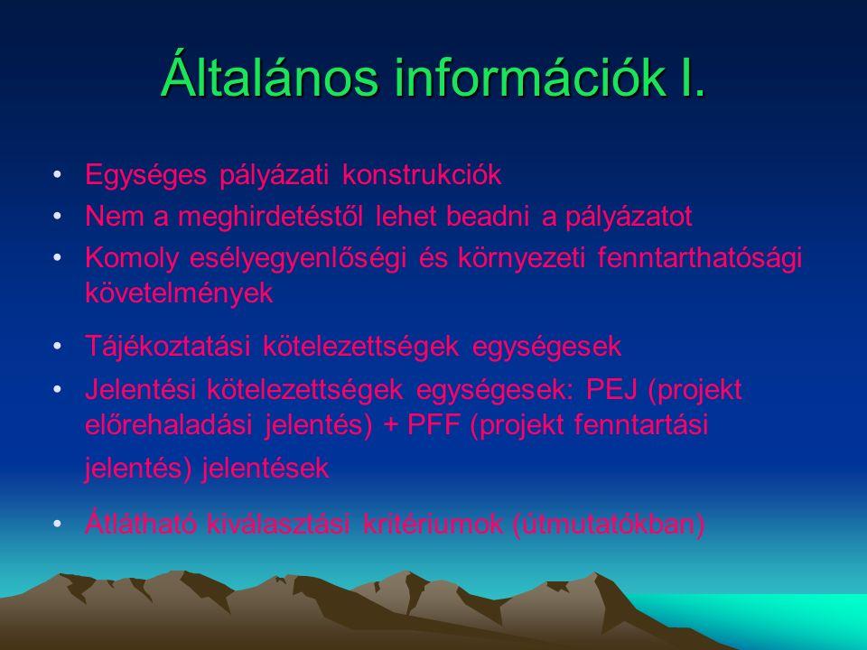 Általános információk I.