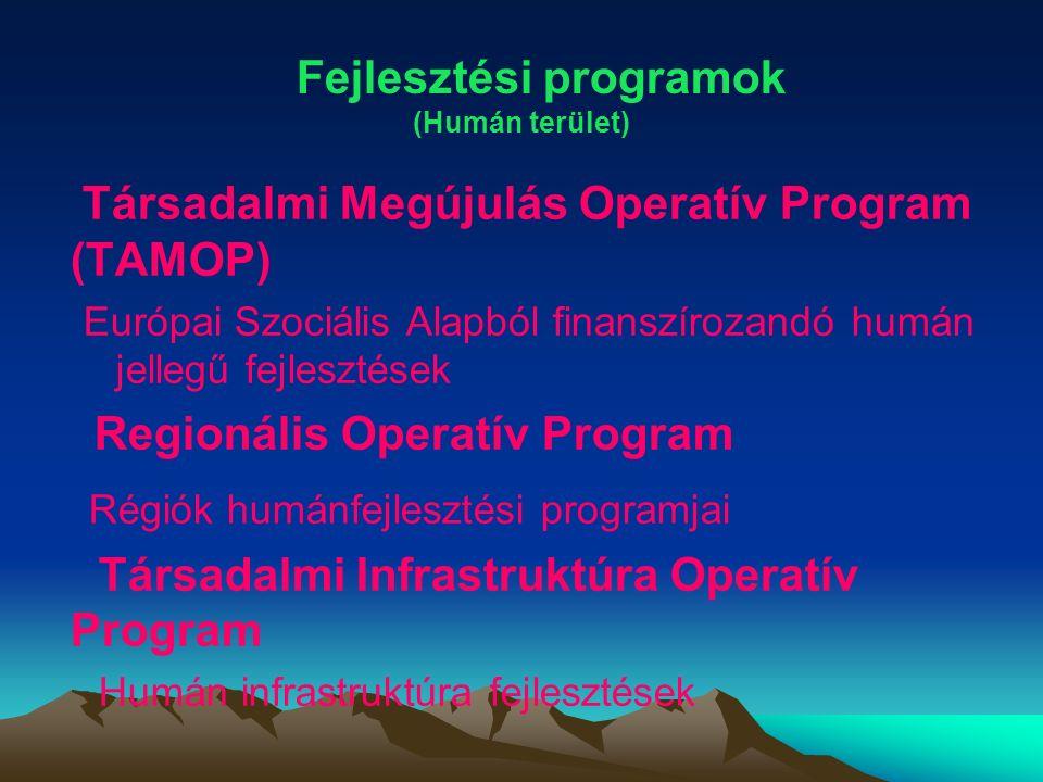 Társadalmi Megújulás Operatív Program (TAMOP) Európai Szociális Alapból finanszírozandó humán jellegű fejlesztések Regionális Operatív Program Régiók humánfejlesztési programjai Társadalmi Infrastruktúra Operatív Program Humán infrastruktúra fejlesztések Fejlesztési programok (Humán terület)