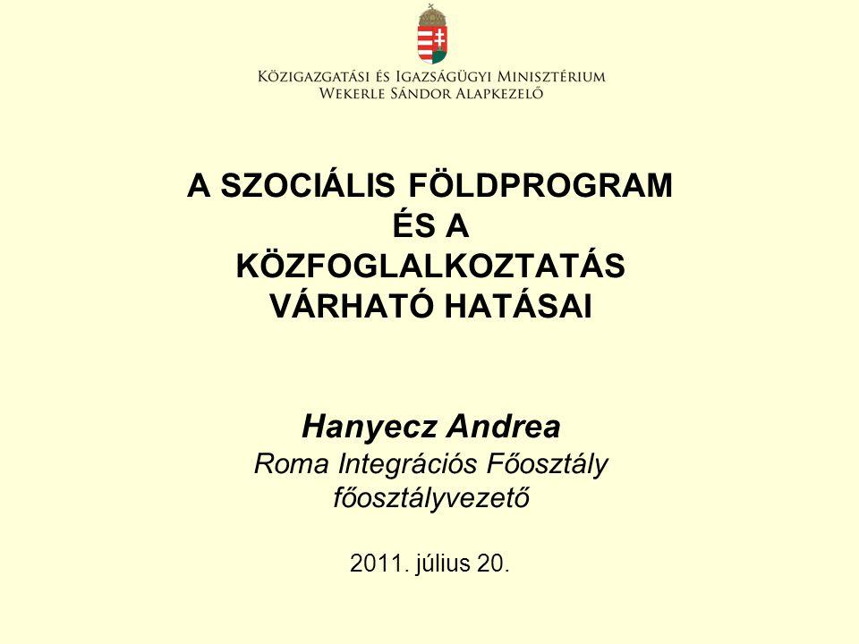 A SZOCIÁLIS FÖLDPROGRAM ÉS A KÖZFOGLALKOZTATÁS VÁRHATÓ HATÁSAI Hanyecz Andrea Roma Integrációs Főosztály főosztályvezető 2011. július 20.