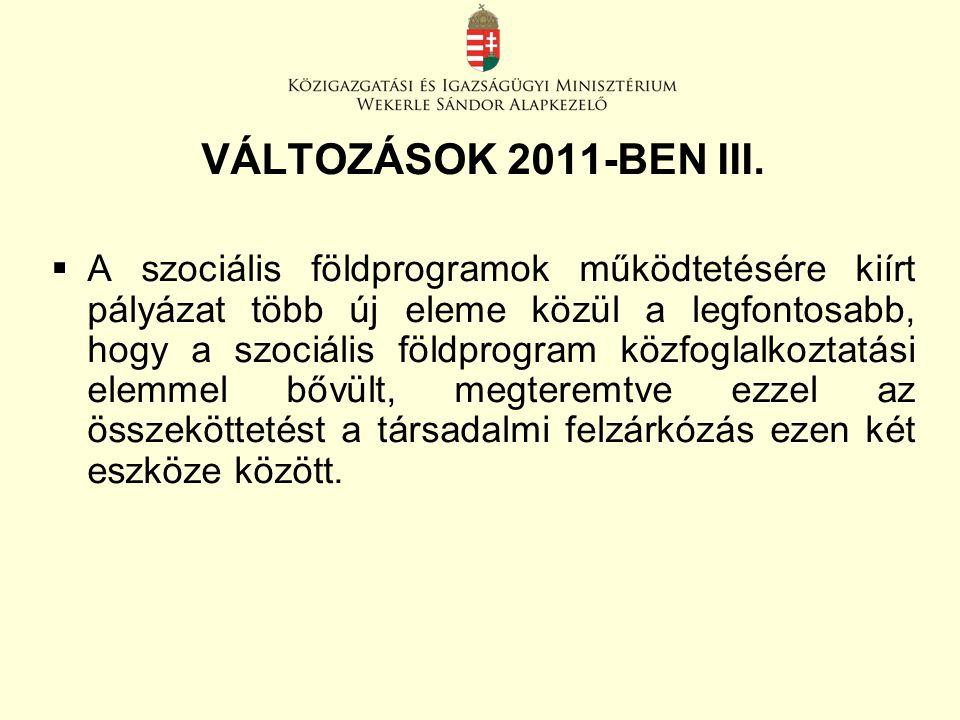 VÁLTOZÁSOK 2011-BEN III.