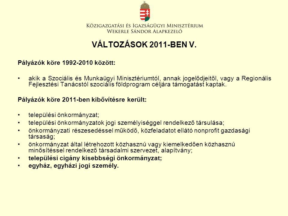 VÁLTOZÁSOK 2011-BEN V. Pályázók köre 1992-2010 között: akik a Szociális és Munkaügyi Minisztériumtól, annak jogelődjeitől, vagy a Regionális Fejleszté