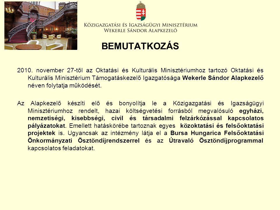 BEMUTATKOZÁS 2010. november 27-től az Oktatási és Kulturális Minisztériumhoz tartozó Oktatási és Kulturális Minisztérium Támogatáskezelő Igazgatósága