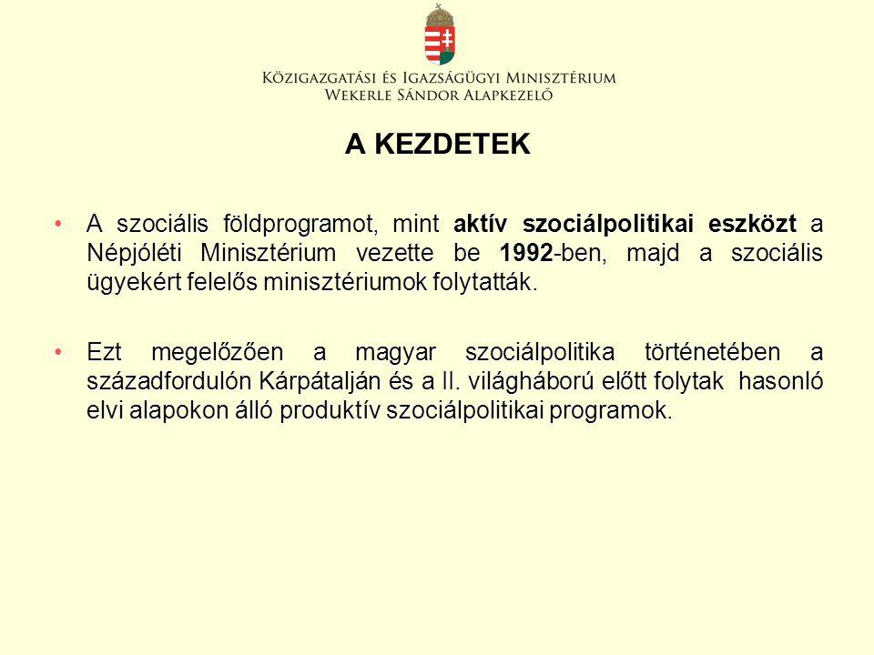 A KEZDETEK A szociális földprogramot, mint aktív szociálpolitikai eszközt a Népjóléti Minisztérium vezette be 1992-ben, majd a szociális ügyekért felelős minisztériumok folytatták.A szociális földprogramot, mint aktív szociálpolitikai eszközt a Népjóléti Minisztérium vezette be 1992-ben, majd a szociális ügyekért felelős minisztériumok folytatták.